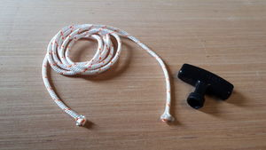 Starter cord and handle for mowers and sweepers -